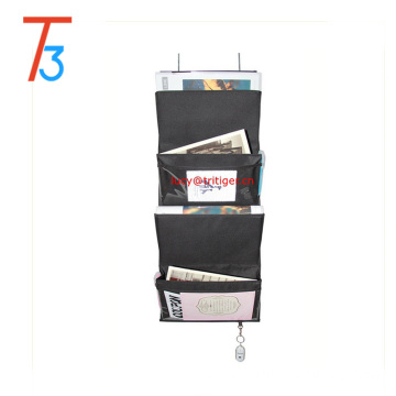4 Pockets Black or Coffee Mail Organizer Wall Mount Over the Door Magazine Storage